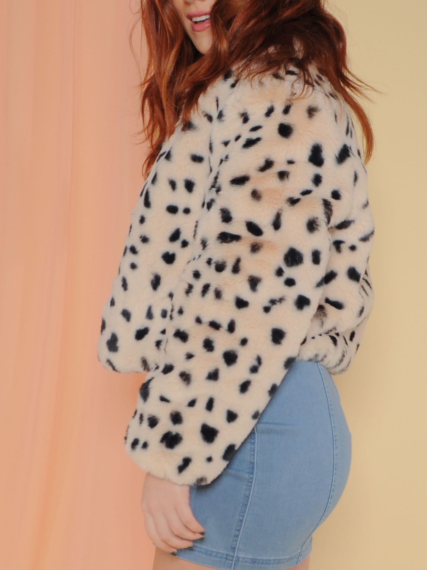 Snow Leopard Bomber Jacket Fuzzy Soft Spotted Layer Side