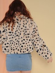 Snow Leopard Bomber Jacket Fuzzy Soft Spotted Layer Back