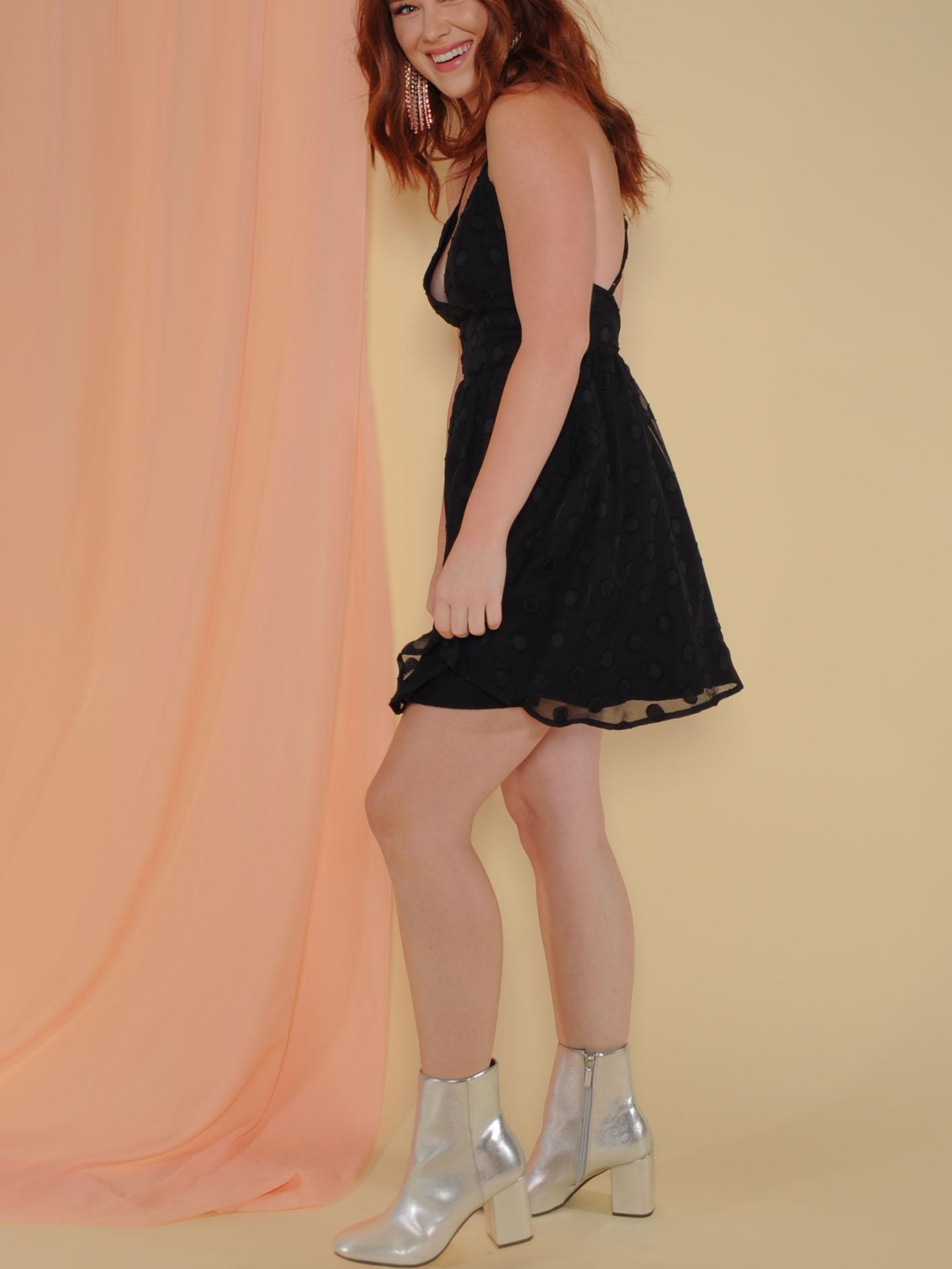 Knockout Dress Mini V Neck Polka Dot Dress Side