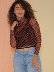 Grevy Top Sheer Zebra Print Crop Turtleck Front