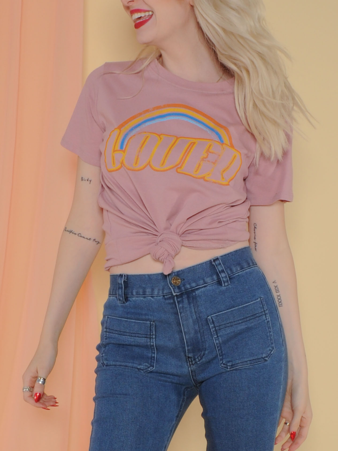 Loved Tee Pink Rainbow Graphic tee