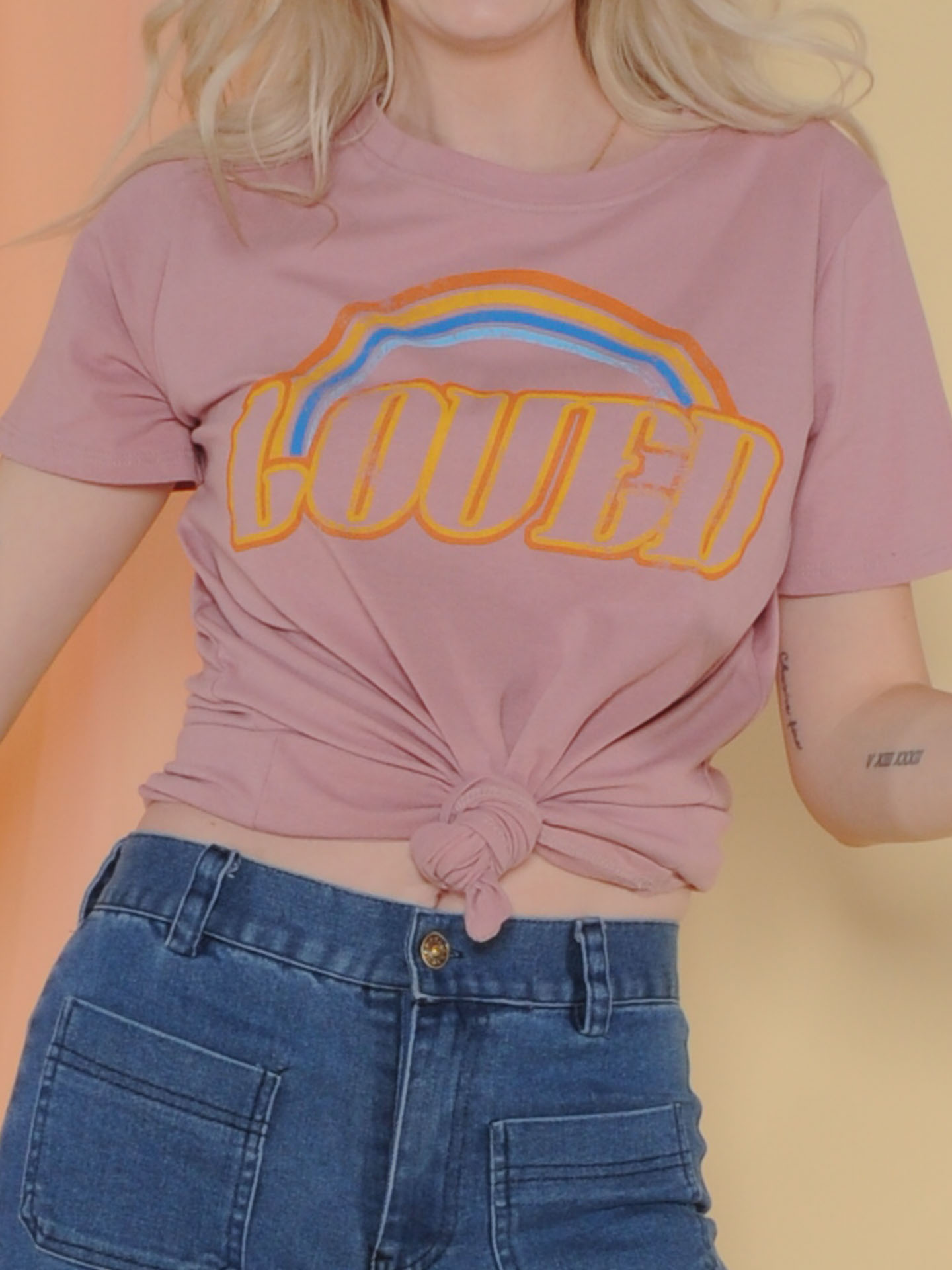 Loved Tee Pink Rainbow Graphic Tee Close Up