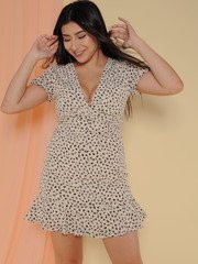 Lesley Dress Ruffle Scribble Dot Summer Dress Front