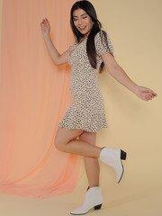 Lesley Dress Ruffle Scribble Dot Summer Dress Side