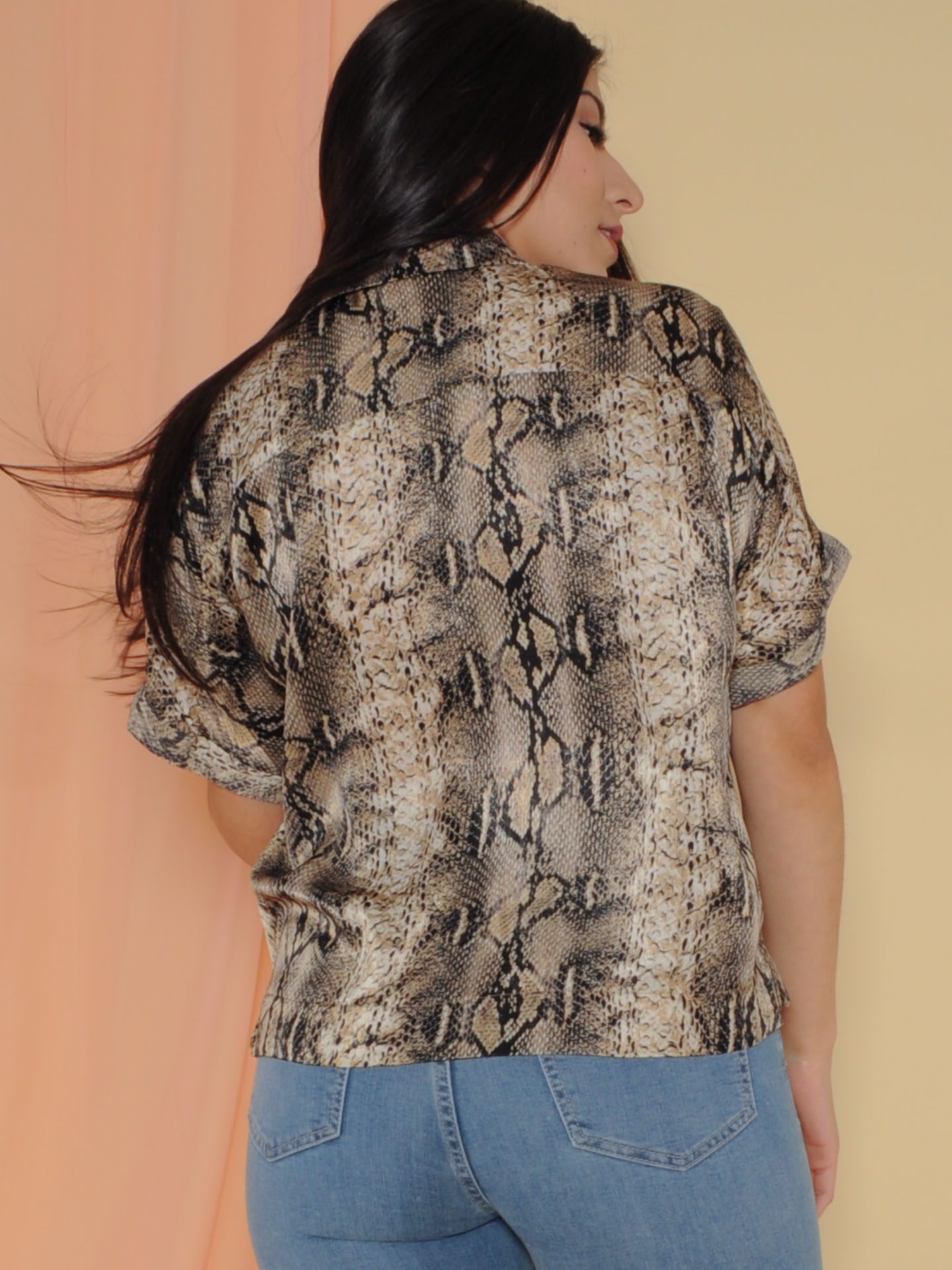 Cecilia Top Snake Print Button Up Silk Back