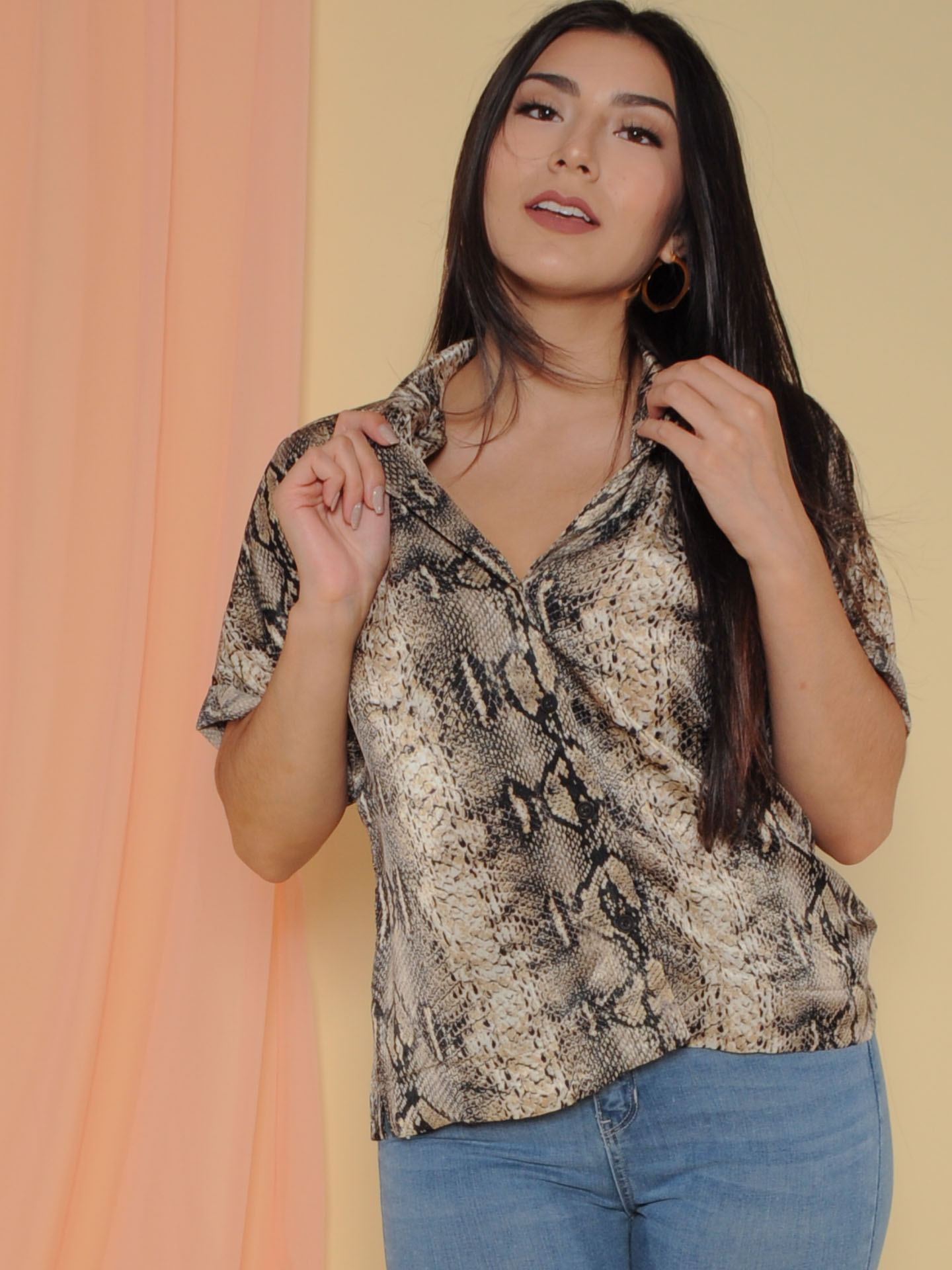 Cecilia Top Snake Print Button Up Silk Front