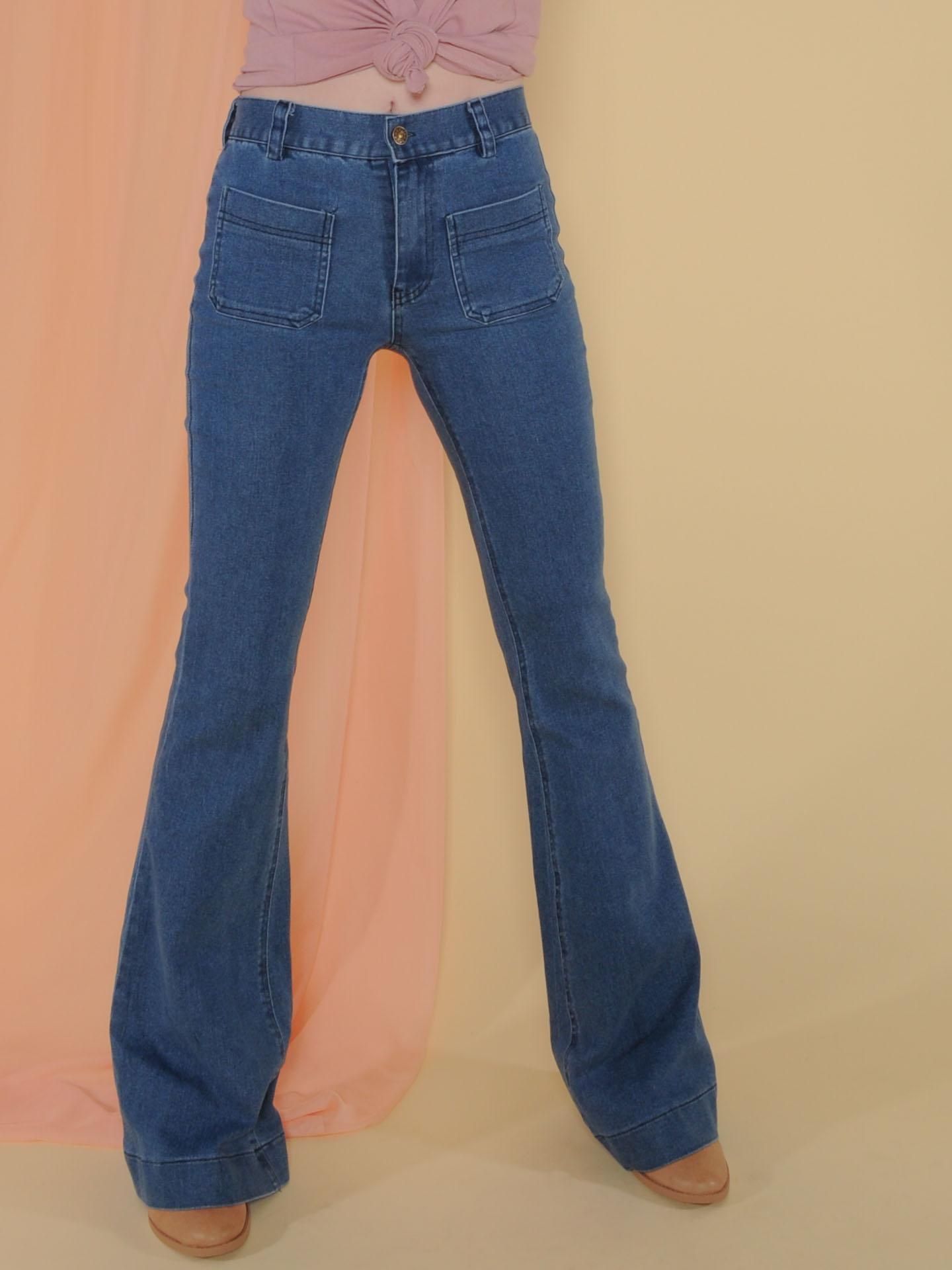 Elijah Denim  Blue 90's Style Bell Bottoms Front