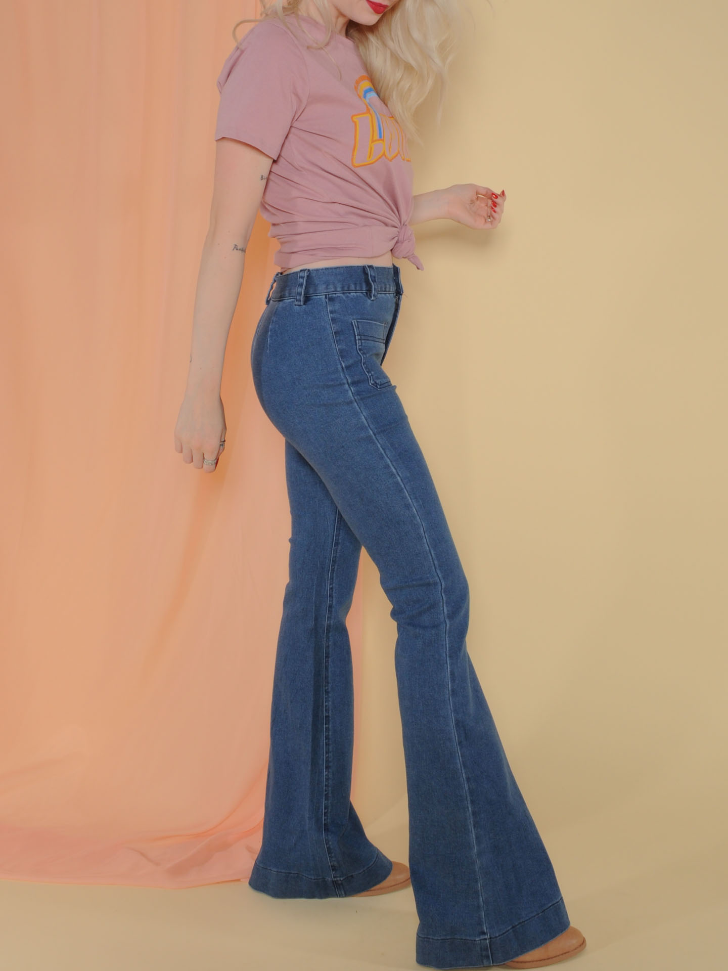 Elijah Denim  Blue 90's Style Bell Bottoms Side