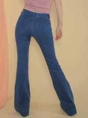 Elijah Denim  Blue 90's Style Bell Bottoms Back