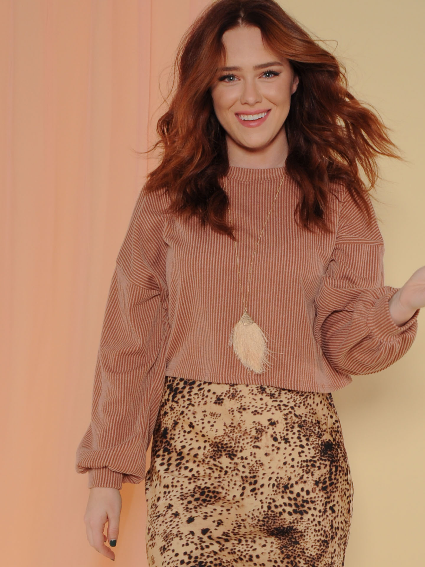 Grace Bay Sweater Ribbed Rust Balloon Sleeve Front