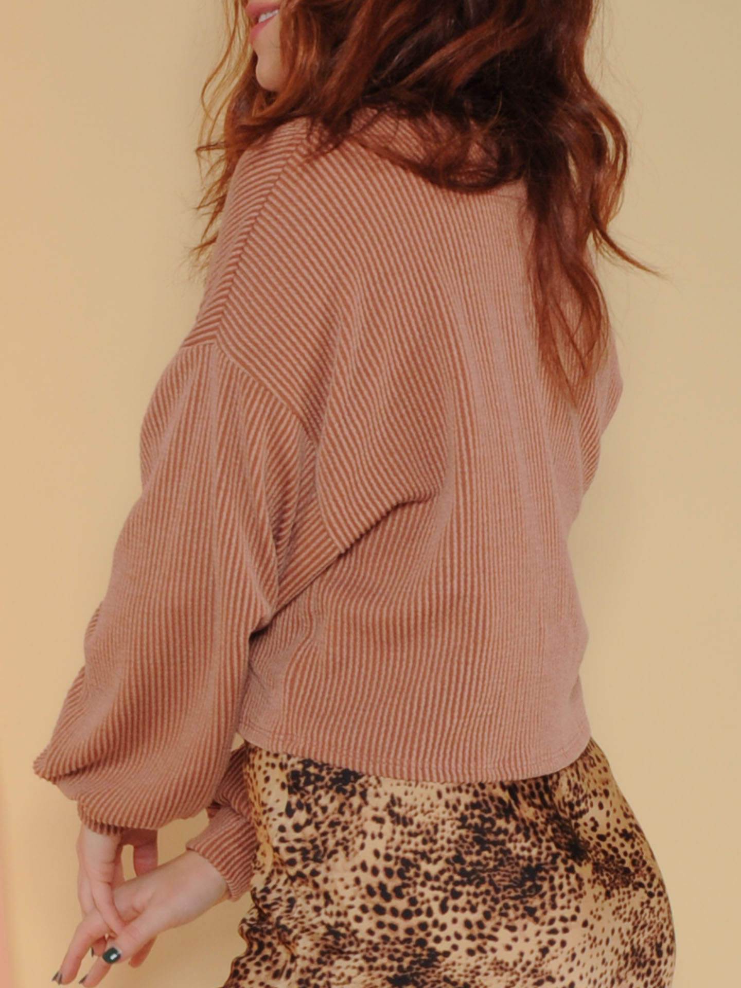 Grace Bay Sweater Ribbed Rust Balloon Sleeve Side