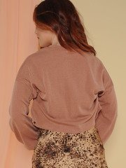 Grace Bay Sweater Ribbed Rust Balloon Sleeve Back