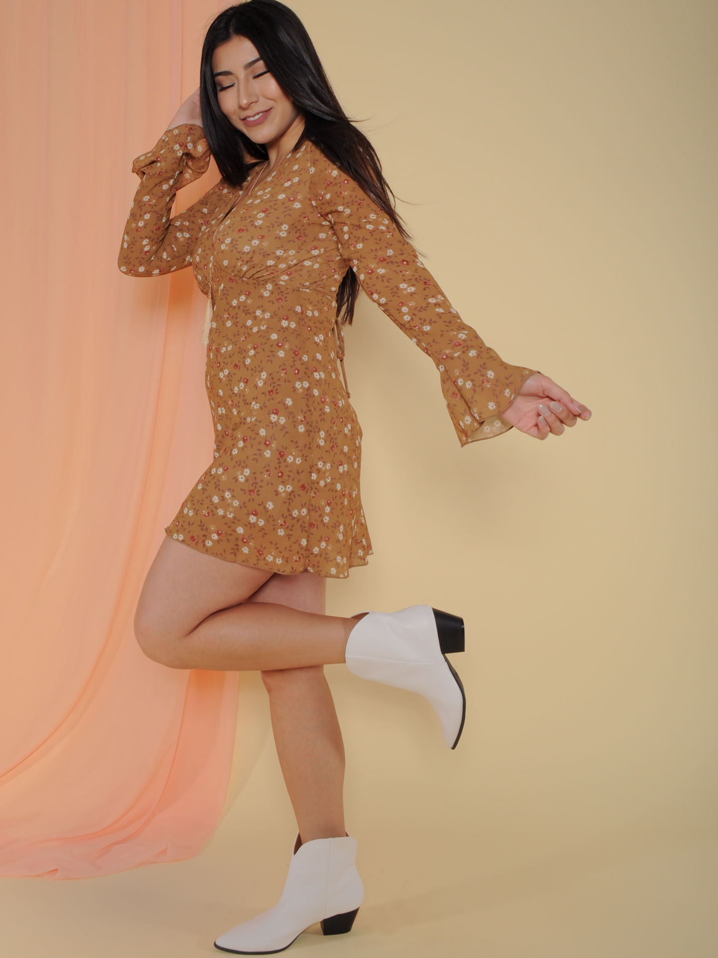 Paisley Dress Floral Brown Colored Long Sleeve Side