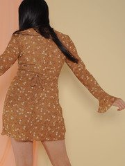 Paisley Dress Floral Brown Colored Long Sleeve Back