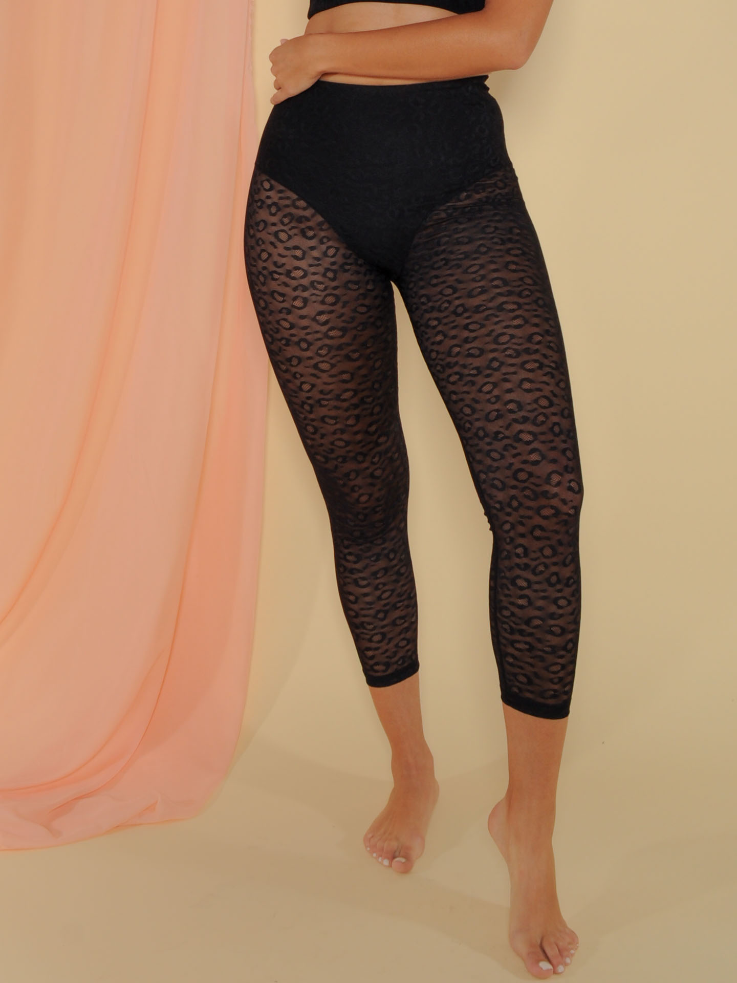 Normani Leggings Mesh Leopard Pattern Bottoms Front
