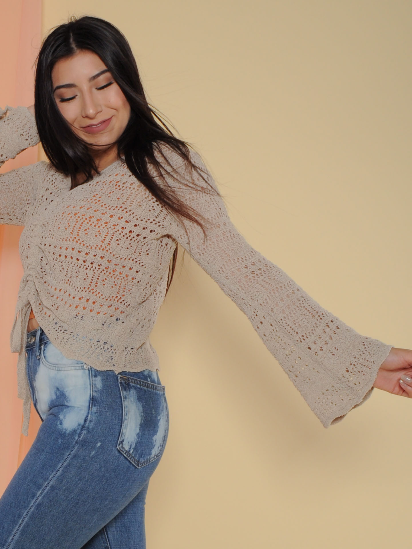 Hermione Sweater Crochet Layering Bell Sleeve Side