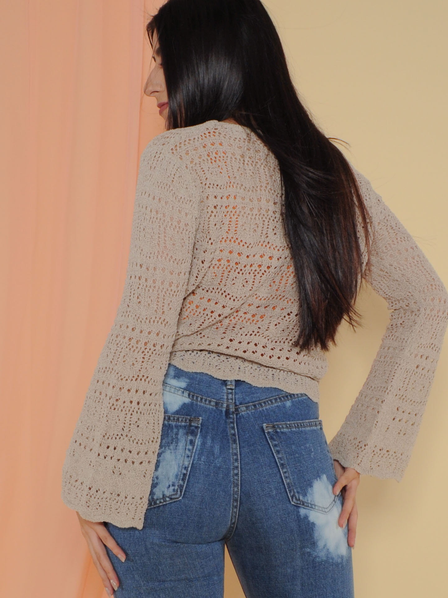 Hermione Sweater Crochet Layering Bell Sleeve Back