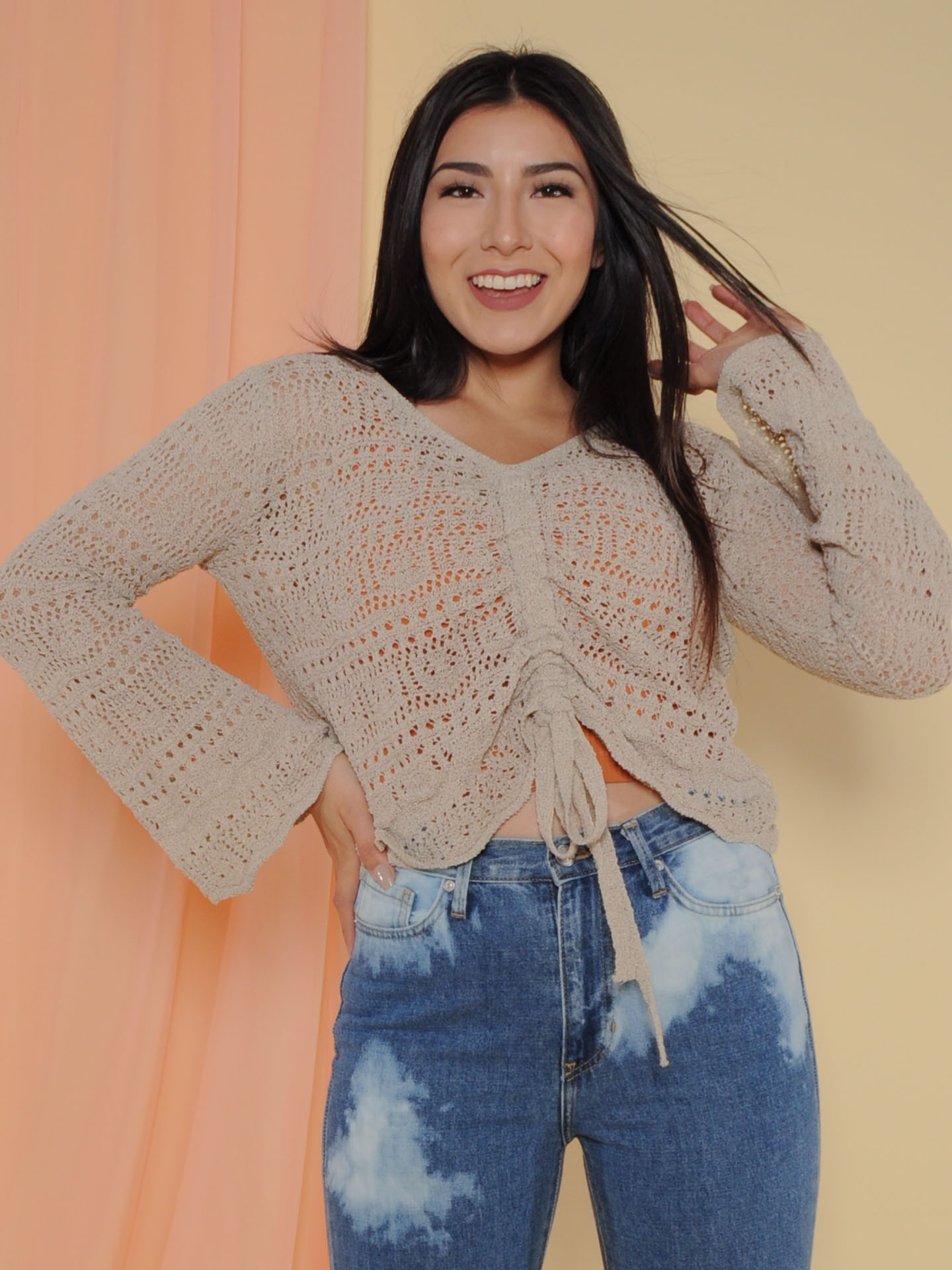 Hermione Sweater Crochet Layering Bell Sleeve Front
