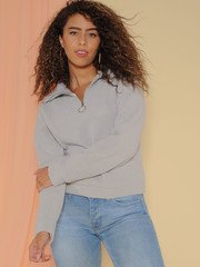 Sherpa Pullover Comfy Collared Sweater Front
