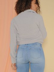 Sherpa Pullover Comfy Collared Sweater Back