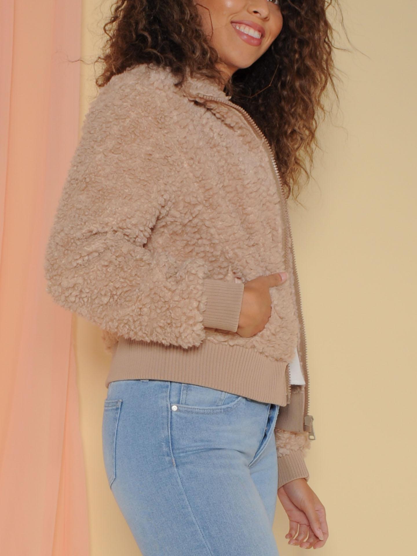 Amsterdam Jacket Faux Fur Zip Up Side
