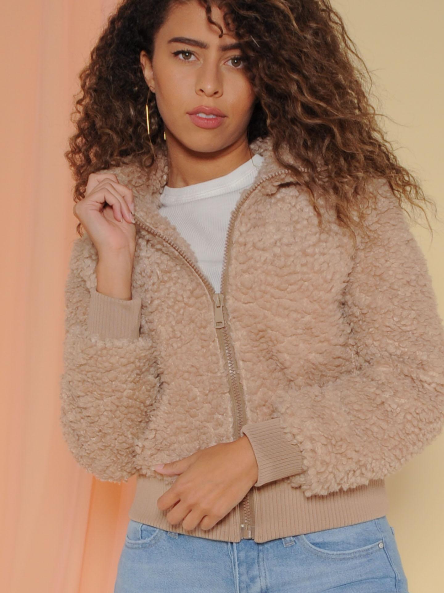 Amsterdam Jacket Faux Fur Zip Up Front