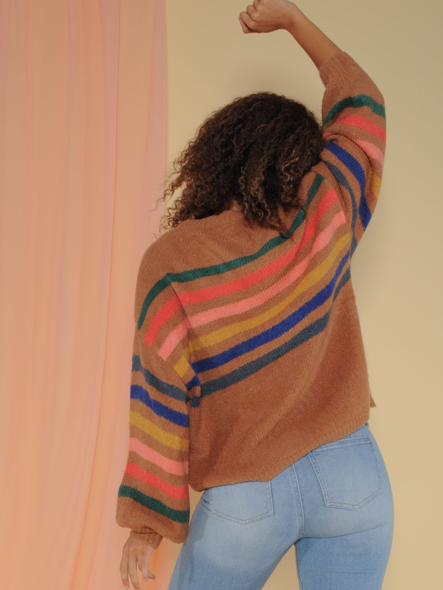 Thelma Sweater Oversized Rainbow Striped Top Back