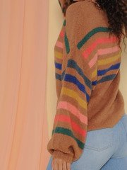 Thelma Sweater Oversized Rainbow Striped Top