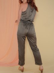 Joey Jumpsuit Satin Olive Button Up Back