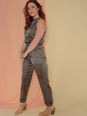 Joey Jumpsuit Satin Olive Button Up Side