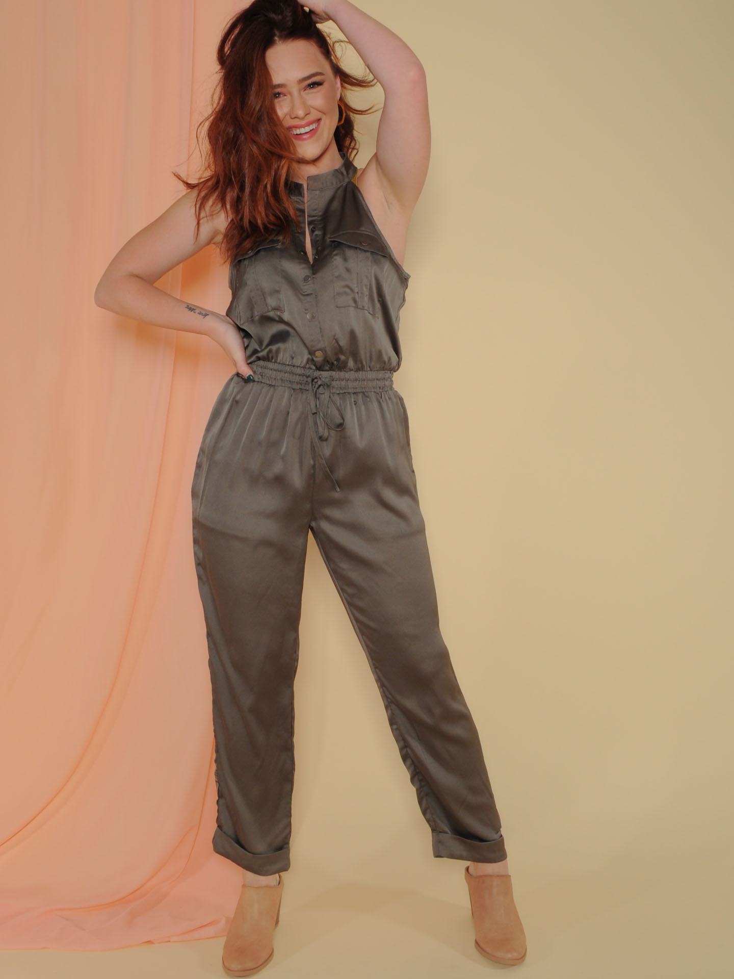 Joey Jumpsuit Satin Olive Button Up Front