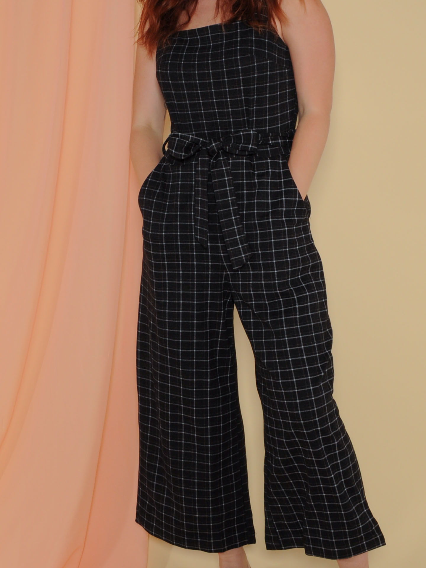 Katniss Jumper Grid Print Wide Leg Romper Front