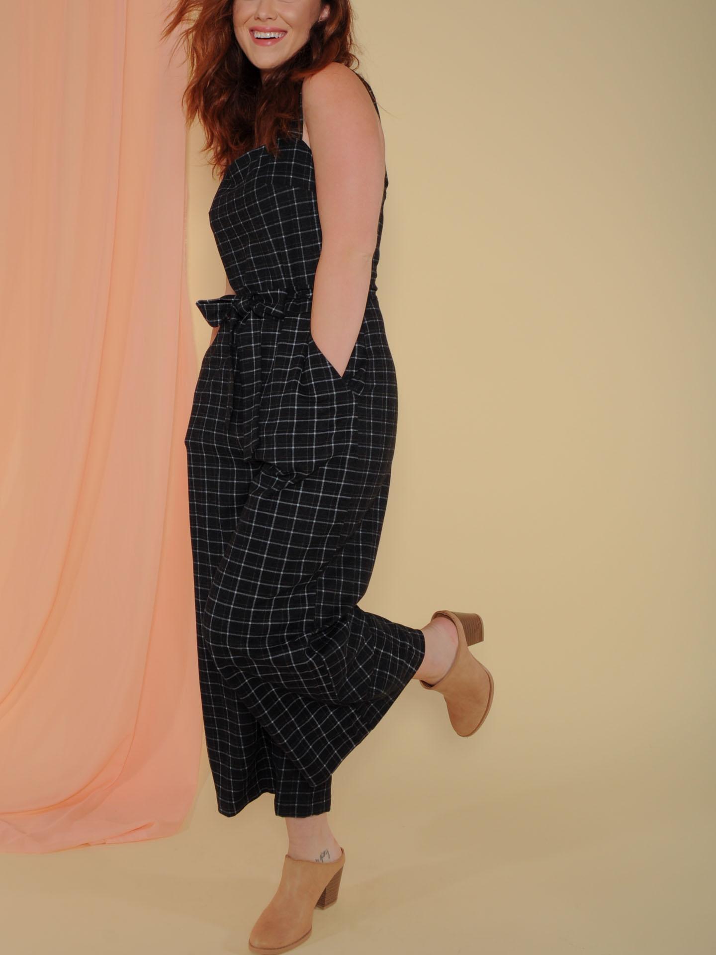 Katniss Jumper Grid Print Wide Leg Romper Side