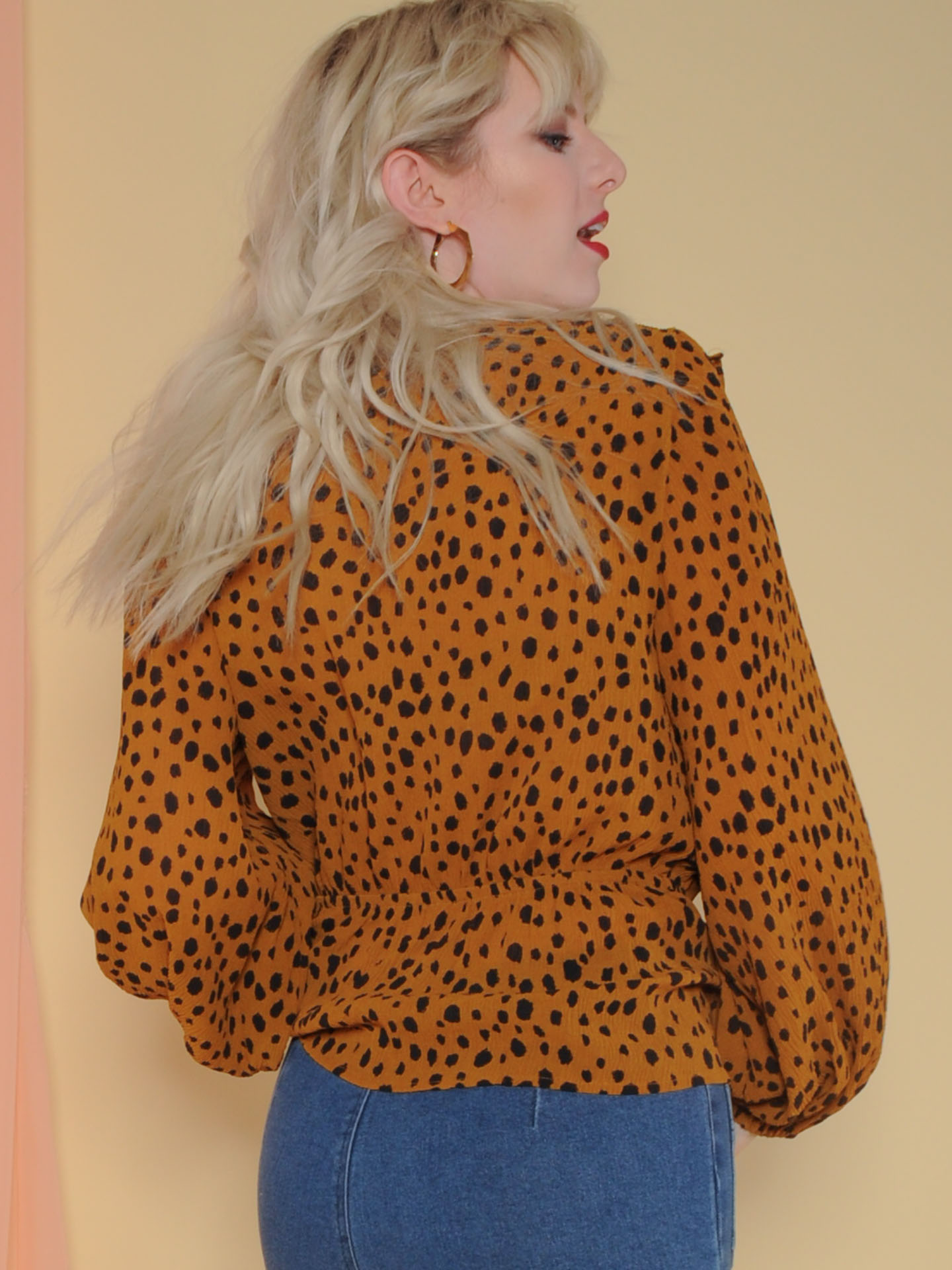 Dottie Blouse Animal Print Long Sleeve Ruffle  Back