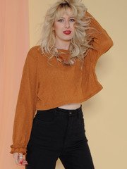 Dainty Top Ruffle Sleeve Crop Camel Front
