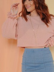 Dainty Top Ruffle Sleeve Crop Pink Front