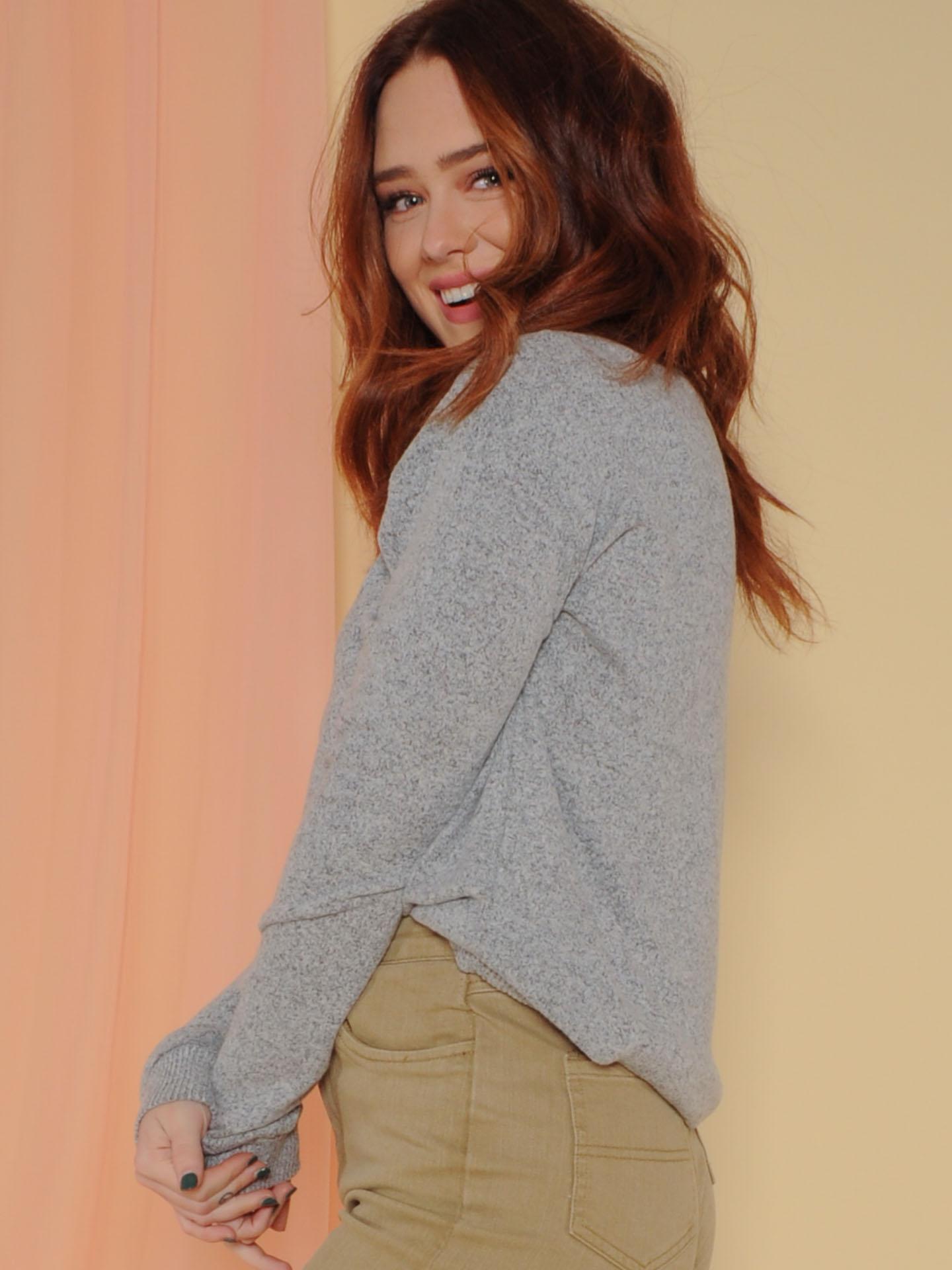 Doha Sweater Heather Grey Long Sleeve Side