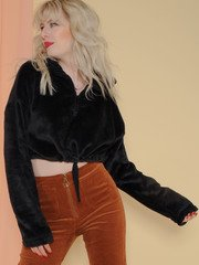 Buffy Pullover Fuzzy Cinched Waist Pullover Front