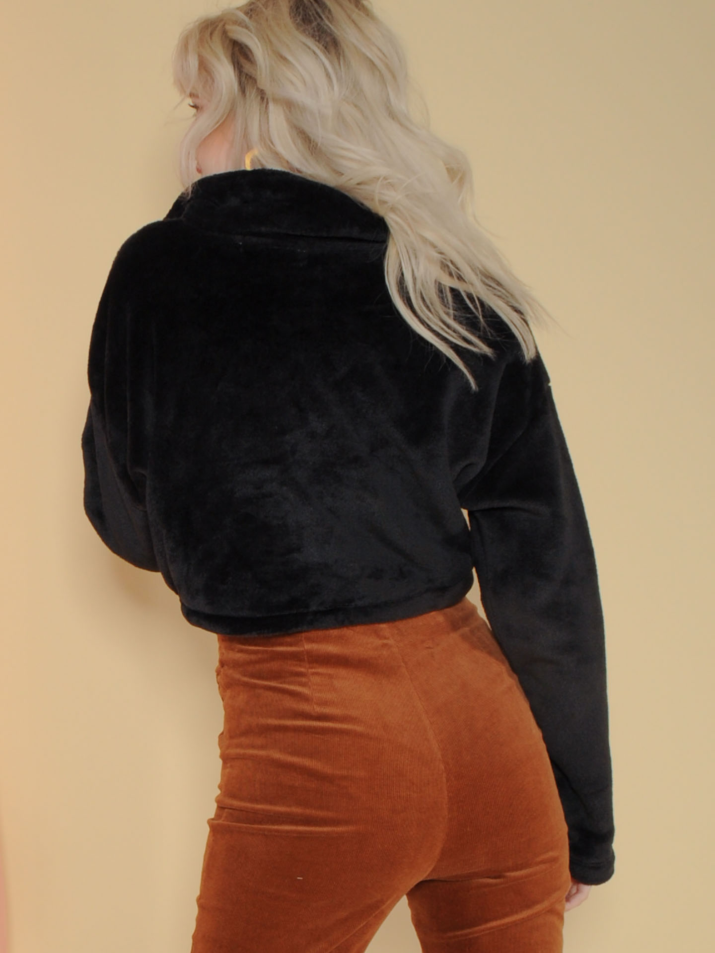 Buffy Pullover Fuzzy Cinched Waist Pullover Back