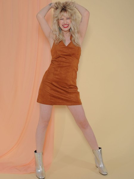 Diana Dress Faux Suede Brown Bodycon Front