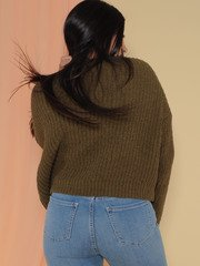 Leia Sweater Soft Knitted Long Sleeve Deep Olive Back
