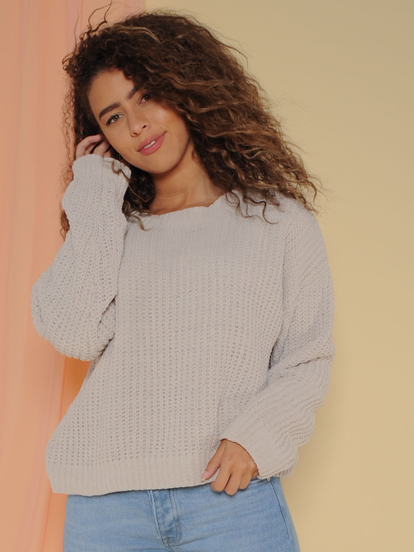 Leia Sweater Soft Knitted Long Sleeve Alpaca Front