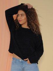 Kinsley Sweater Soft Sherpa Long Sleeve Black Front