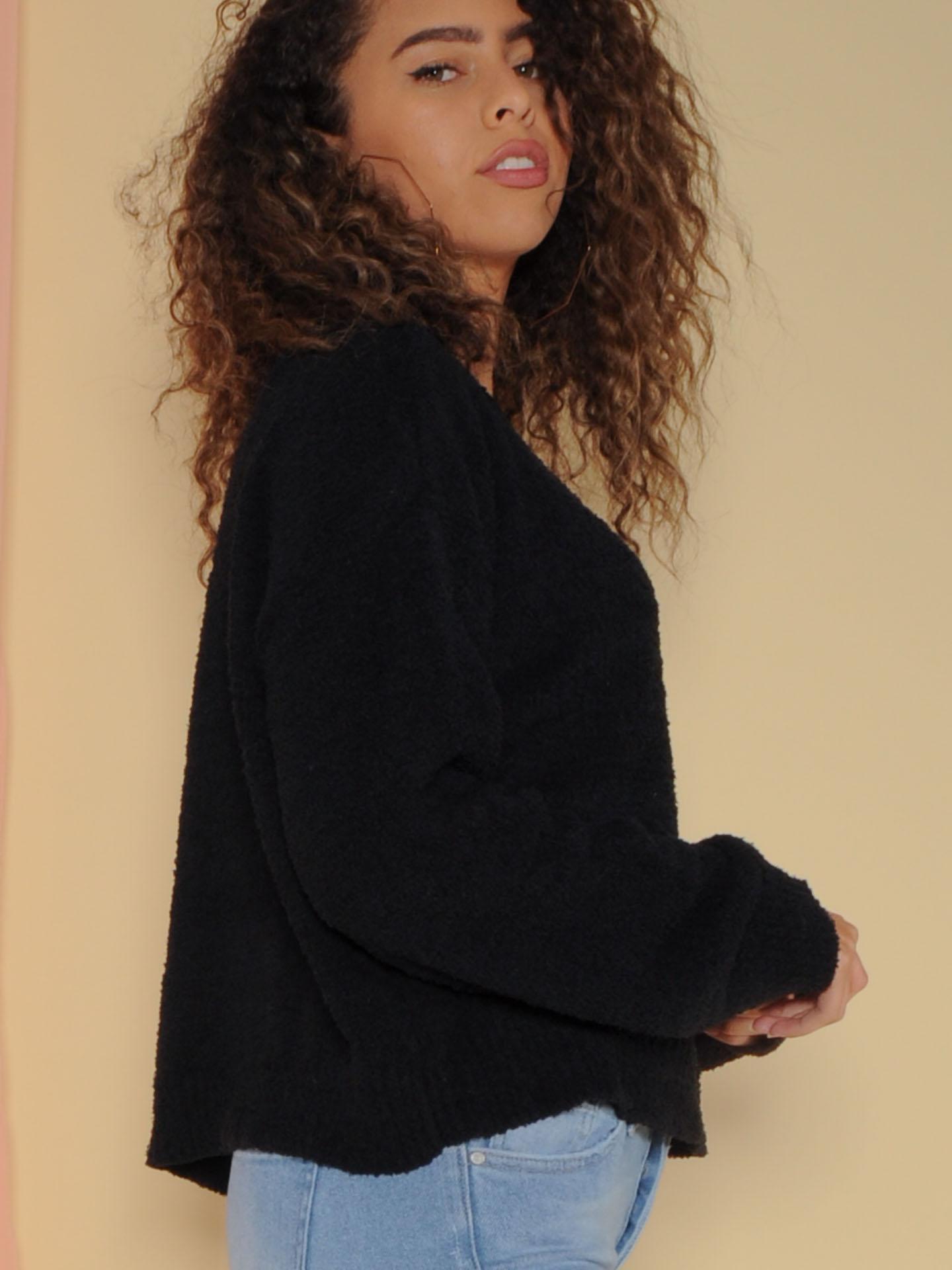 Kinsley Sweater Soft Sherpa Long Sleeve Black