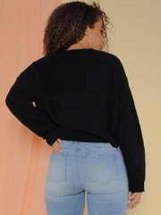 Kinsley Sweater Soft Sherpa Long Sleeve Black Back