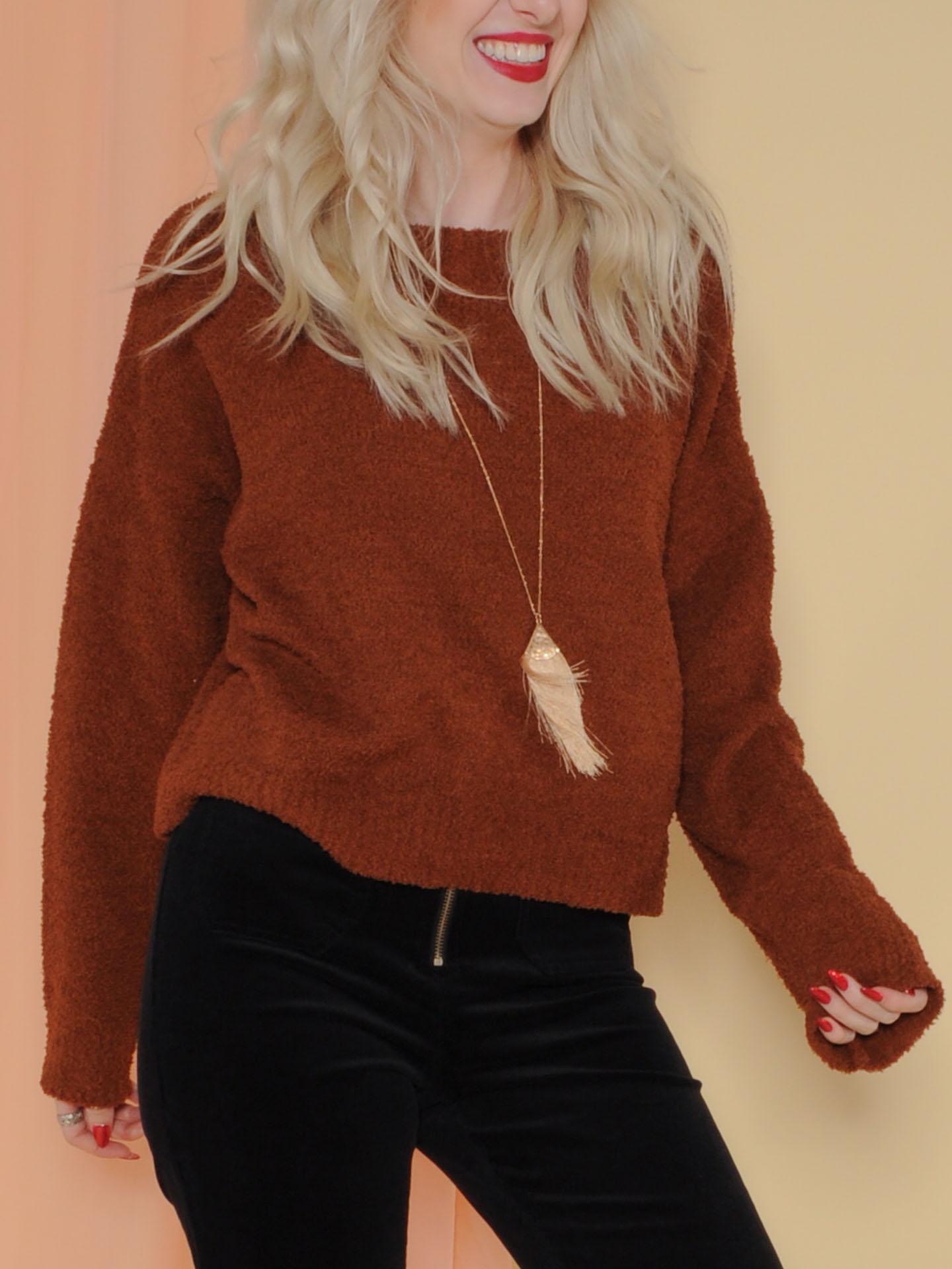 Kinsley Sweater Soft Sherpa Long Sleeve Brown