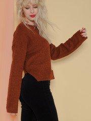 Kinsley Sweater Soft Sherpa Long Sleeve Brown Side