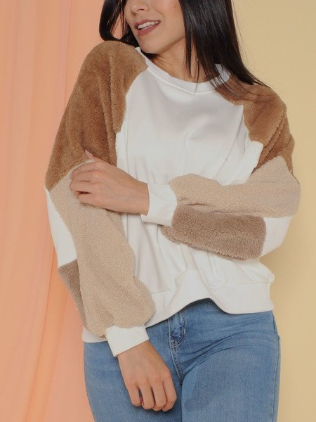 Versa Sweater Chromatic Square Brown Fuzzy Sleeve Front