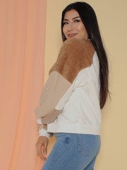 Versa Sweater Chromatic Square Brown Fuzzy Sleeve  Side
