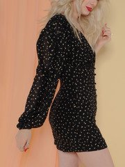 Annika Dress Gold Polka Dot Mini Side